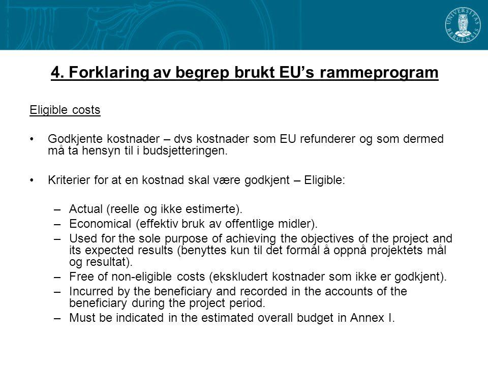 4. Forklaring av begrep brukt EU's rammeprogram Eligible costs •Godkjente kostnader – dvs kostnader som EU refunderer og som dermed må ta hensyn til i