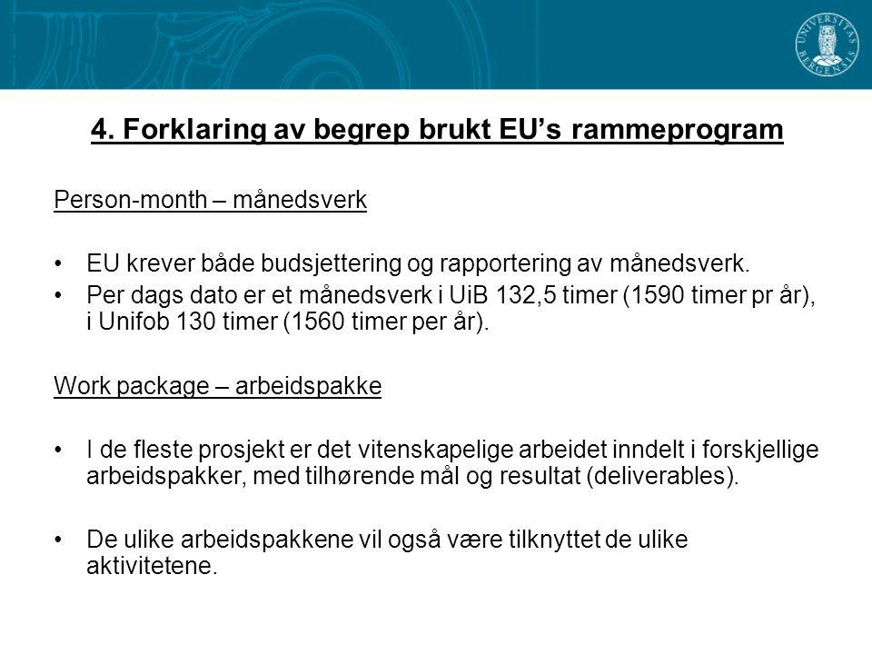 4. Forklaring av begrep brukt EU's rammeprogram Person-month – månedsverk •EU krever både budsjettering og rapportering av månedsverk. •Per dags dato