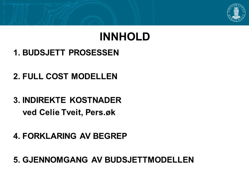 INNHOLD 1. BUDSJETT PROSESSEN 2. FULL COST MODELLEN 3. INDIREKTE KOSTNADER ved Celie Tveit, Pers.øk 4. FORKLARING AV BEGREP 5. GJENNOMGANG AV BUDSJETT
