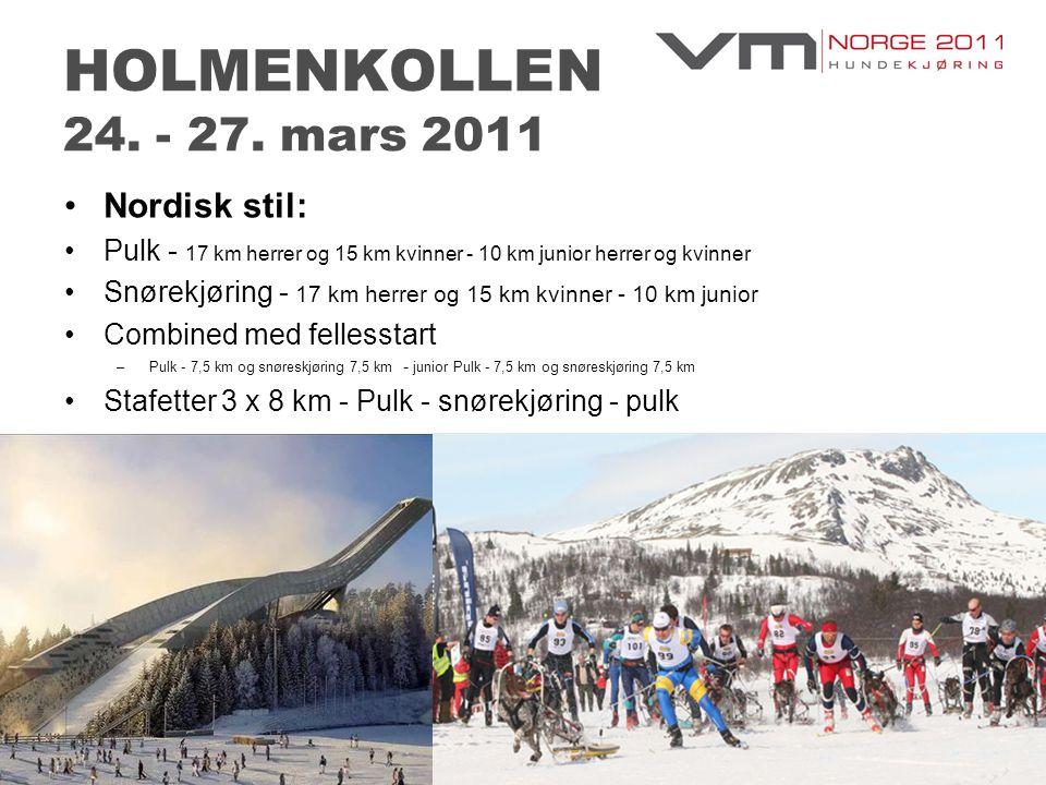 HOLMENKOLLEN 24. - 27. mars 2011 •Nordisk stil: •Pulk - 17 km herrer og 15 km kvinner - 10 km junior herrer og kvinner •Snørekjøring - 17 km herrer og
