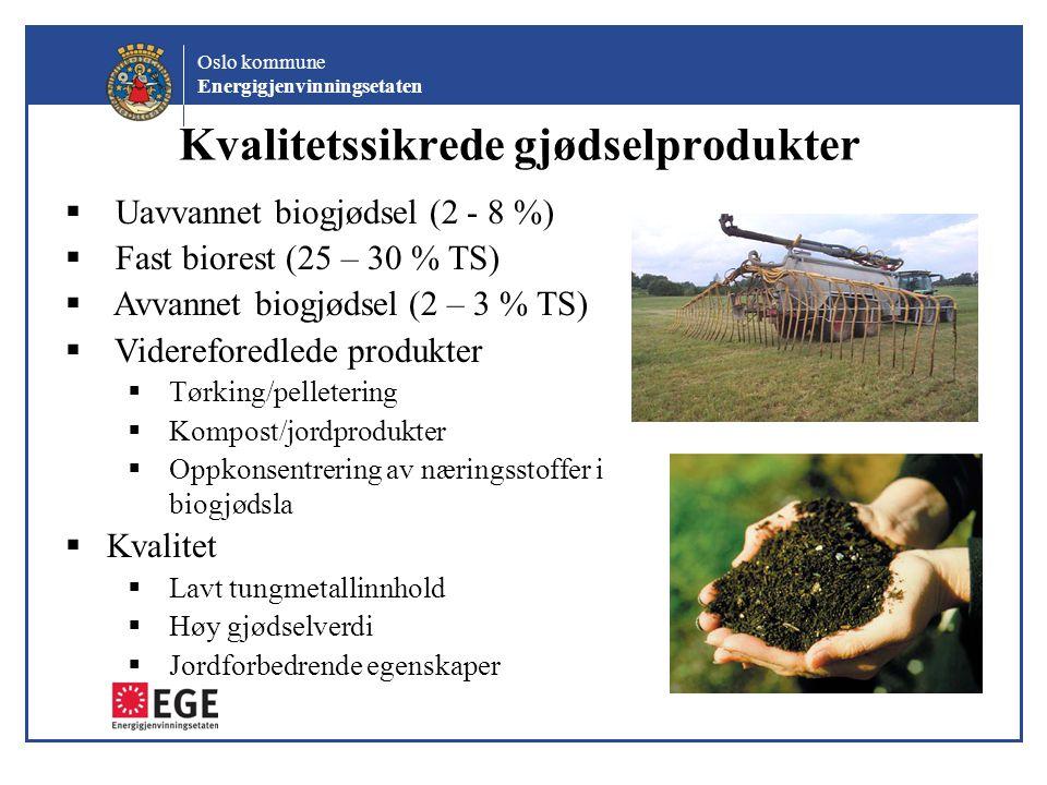 Oslo kommune Energigjenvinningsetaten Kvalitetssikrede gjødselprodukter  Uavvannet biogjødsel (2 - 8 %)  Fast biorest (25 – 30 % TS)  Avvannet biog