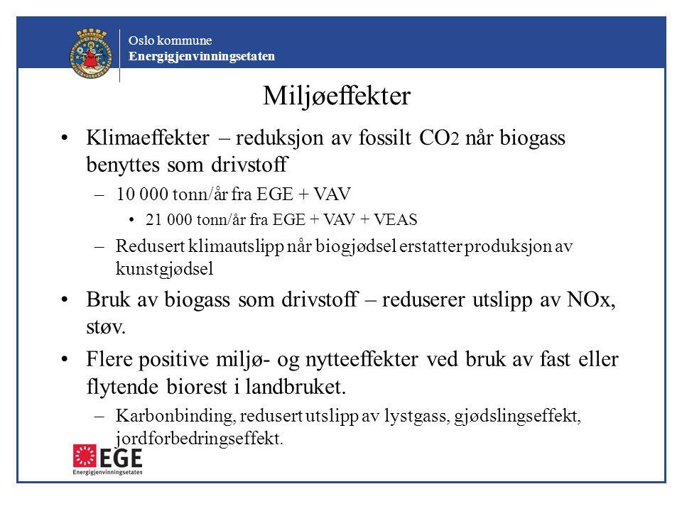 Oslo kommune Energigjenvinningsetaten Miljøeffekter •Klimaeffekter – reduksjon av fossilt CO 2 når biogass benyttes som drivstoff –10 000 tonn/år fra