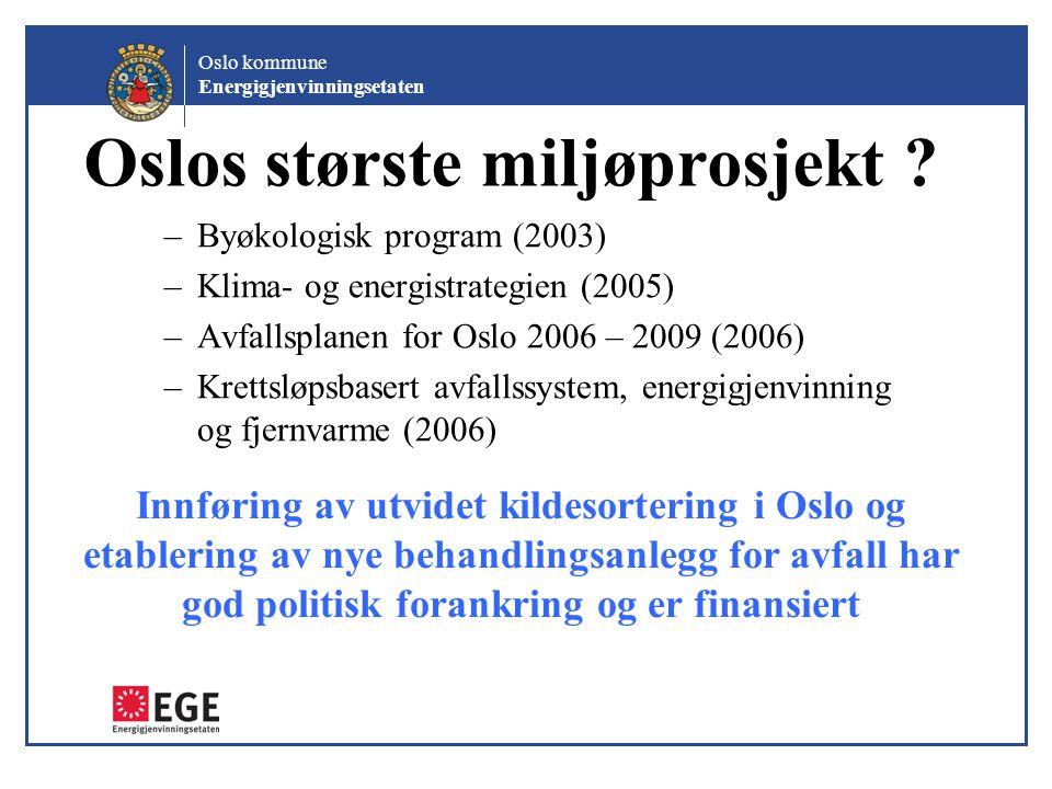 Oslo kommune Energigjenvinningsetaten Oslos største miljøprosjekt ? –Byøkologisk program (2003) –Klima- og energistrategien (2005) –Avfallsplanen for