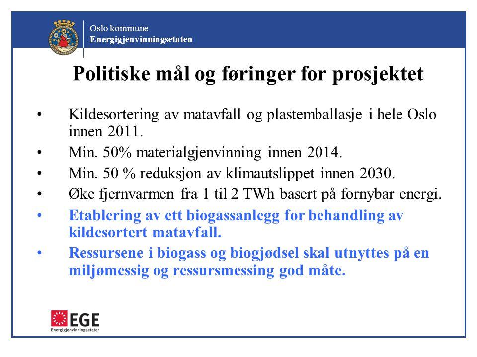 Oslo kommune Energigjenvinningsetaten EGE 2010 – utbyggingsprogram for avfallsanlegg •2 optiske utsorteringsanlegg for matavfall og plastemballasje ( 2 x 100 000 tonn) •Ny ovnslinje 3 på KA (160 000 ton) •Biogassanlegg for matavfall (50 – 80 000 tonn) •Oppgraderingsanlegg for biometan til drift av kjøretøy (busser)