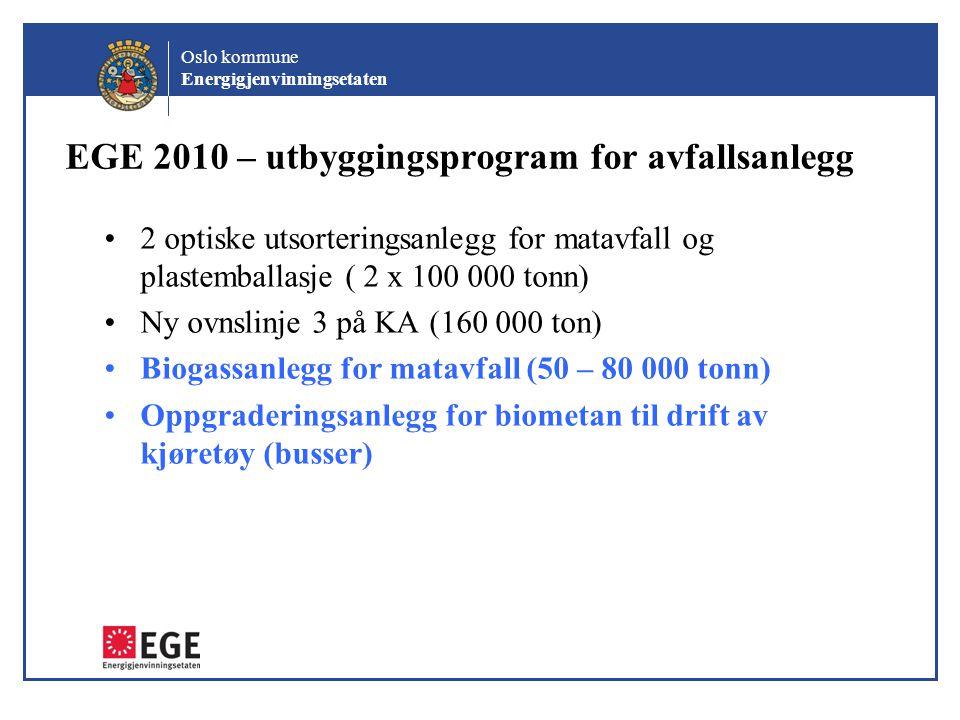 Oslo kommune Energigjenvinningsetaten EGE 2010 – utbyggingsprogram for avfallsanlegg •2 optiske utsorteringsanlegg for matavfall og plastemballasje (