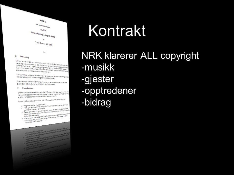 Kontrakt NRK klarerer ALL copyright -musikk -gjester -opptredener -bidrag