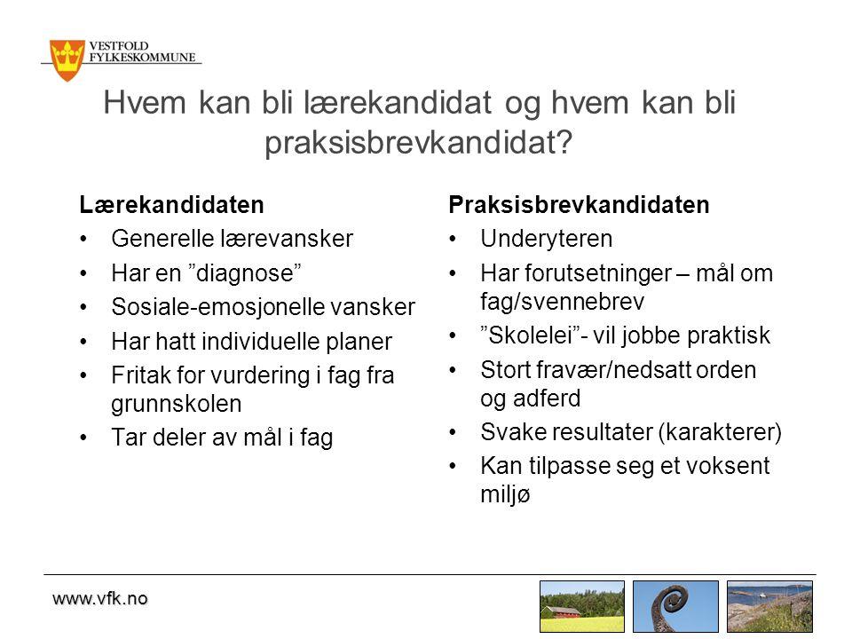 www.vfk.no Hvem kan bli lærekandidat og hvem kan bli praksisbrevkandidat.