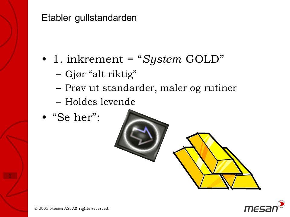© 2005 Mesan AS.All rights reserved. Σ Etabler gullstandarden •1.