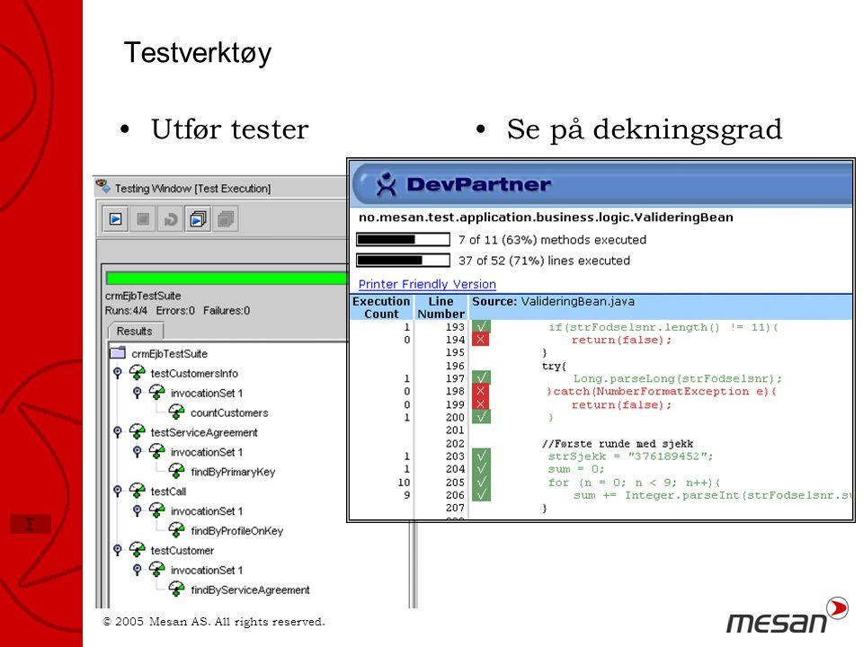 © 2005 Mesan AS. All rights reserved. Σ Testverktøy •Utfør tester•Se på dekningsgrad
