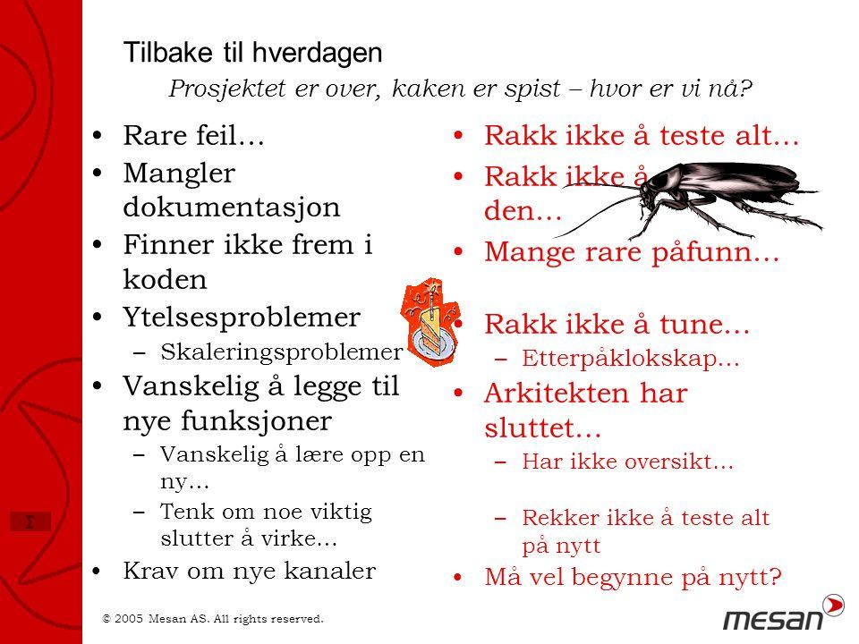 © 2005 Mesan AS. All rights reserved. Σ Tilbake til hverdagen •Rare feil… •Mangler dokumentasjon •Finner ikke frem i koden •Ytelsesproblemer –Skalerin