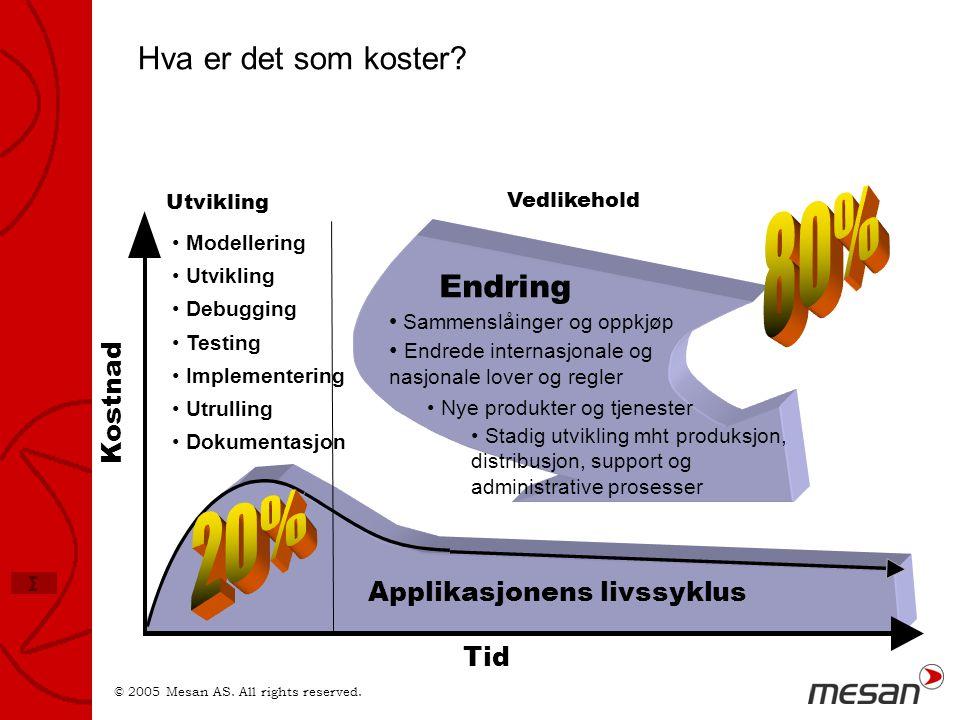 © 2005 Mesan AS. All rights reserved. Σ Tid Kostnad Applikasjonens livssyklus Endring • Modellering • Utvikling • Debugging • Testing • Implementering