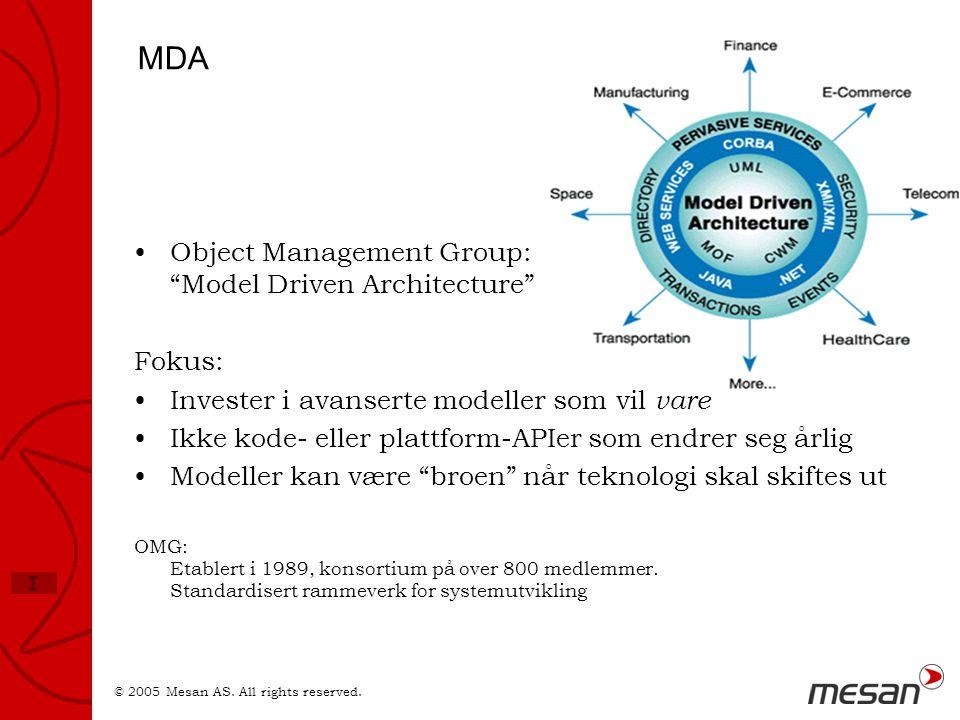 """© 2005 Mesan AS. All rights reserved. Σ MDA •Object Management Group: """"Model Driven Architecture"""" Fokus: •Invester i avanserte modeller som vil vare •"""