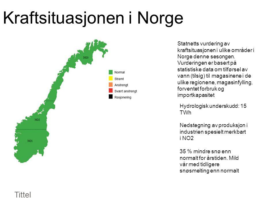 Kraftsituasjonen i Norge Tittel Statnetts vurdering av kraftsituasjonen i ulike områder i Norge denne sesongen.