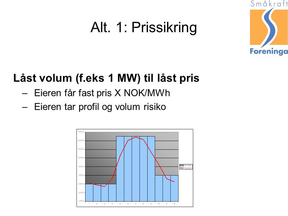 Alt. 1: Prissikring Låst volum (f.eks 1 MW) til låst pris –Eieren får fast pris X NOK/MWh –Eieren tar profil og volum risiko