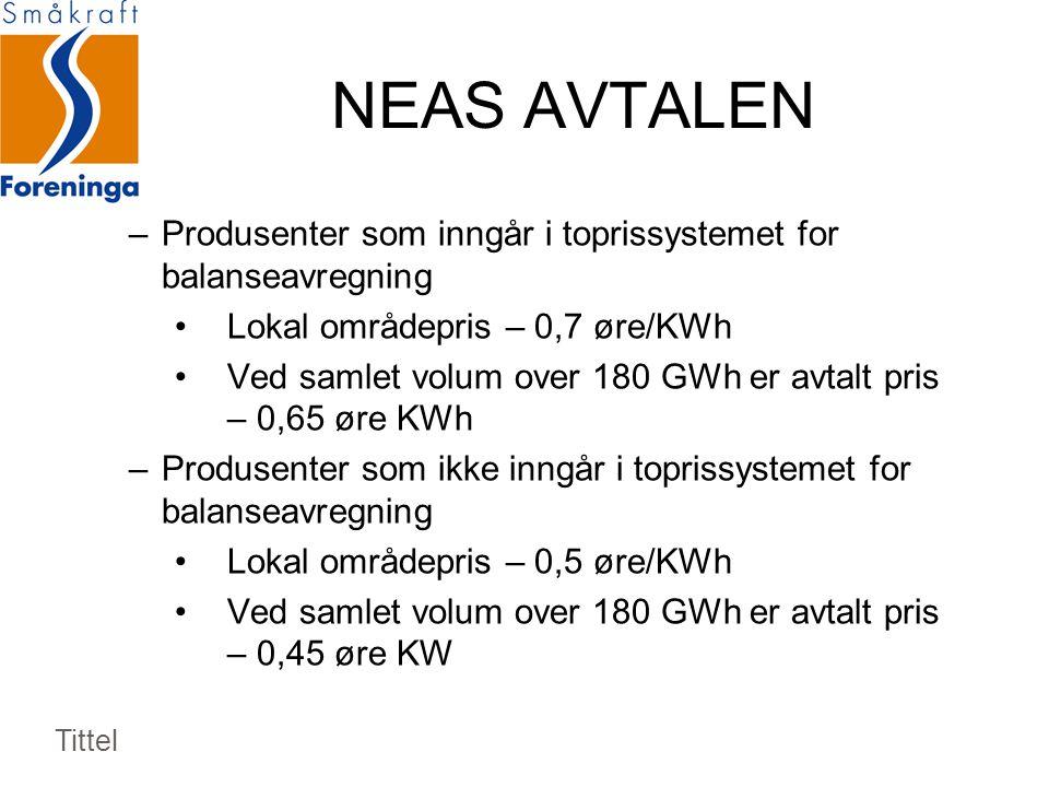 NEAS AVTALEN –Produsenter som inngår i toprissystemet for balanseavregning •Lokal områdepris – 0,7 øre/KWh •Ved samlet volum over 180 GWh er avtalt pris – 0,65 øre KWh –Produsenter som ikke inngår i toprissystemet for balanseavregning •Lokal områdepris – 0,5 øre/KWh •Ved samlet volum over 180 GWh er avtalt pris – 0,45 øre KW Tittel