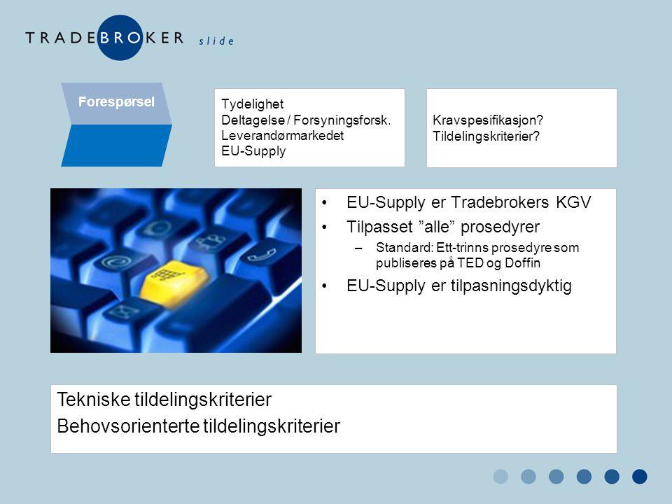 """Forespørsel Tydelighet Deltagelse / Forsyningsforsk. Leverandørmarkedet EU-Supply •EU-Supply er Tradebrokers KGV •Tilpasset """"alle"""" prosedyrer –Standar"""