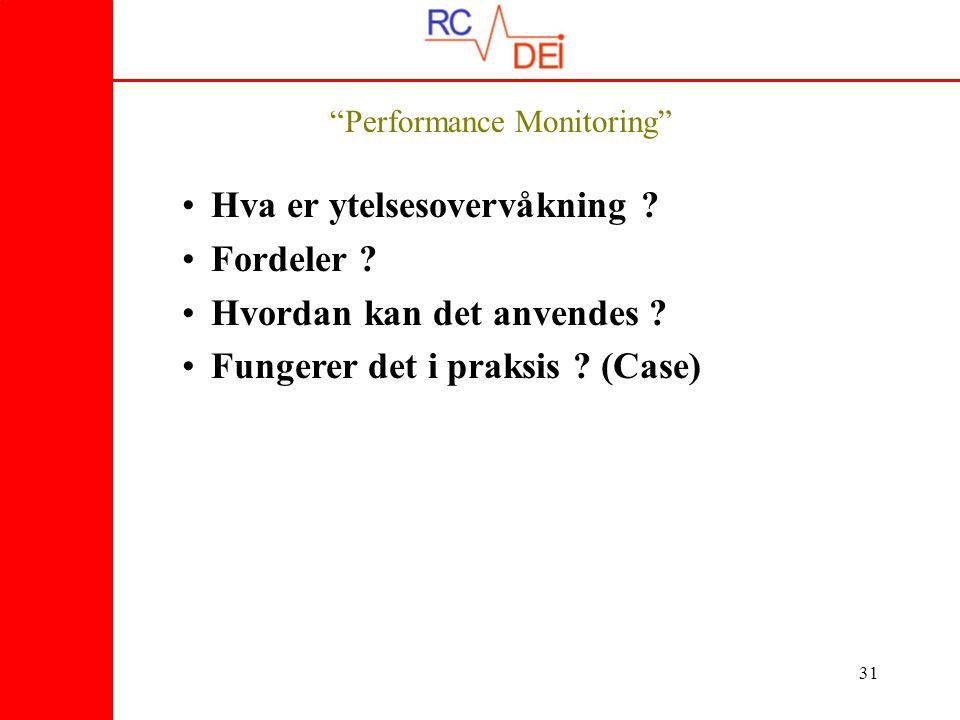 31 Performance Monitoring • Hva er ytelsesovervåkning .