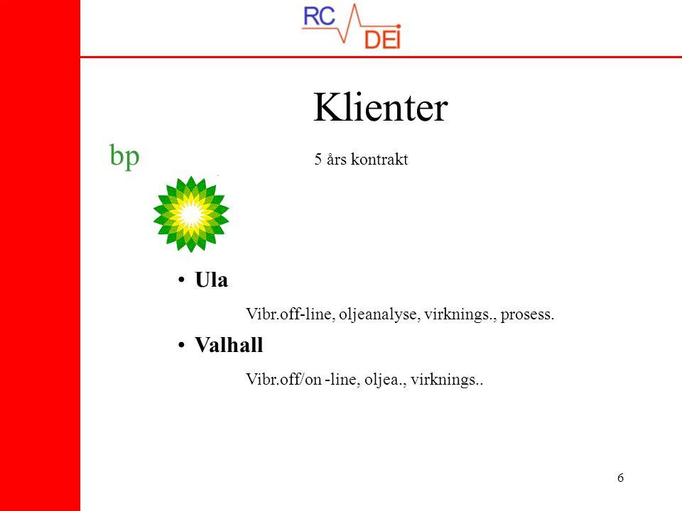 6 bp 5 års kontrakt •Ula Vibr.off-line, oljeanalyse, virknings., prosess. •Valhall Vibr.off/on -line, oljea., virknings.. Klienter