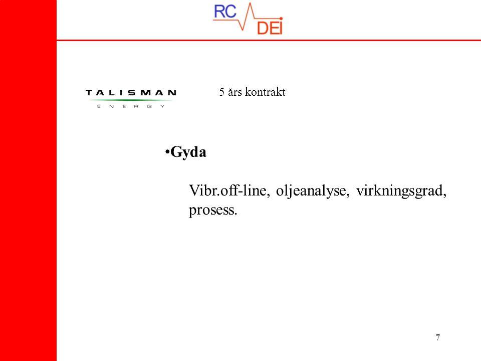 8 –Jotun FPSO - Off/On line vibrasjon, oljeanalyse –Balder FPSO - Off/On line vibrasjon, oljeanalyse –Ringhorne - Off/On line vibrasjon, oljeanalyse 2 Year Contract