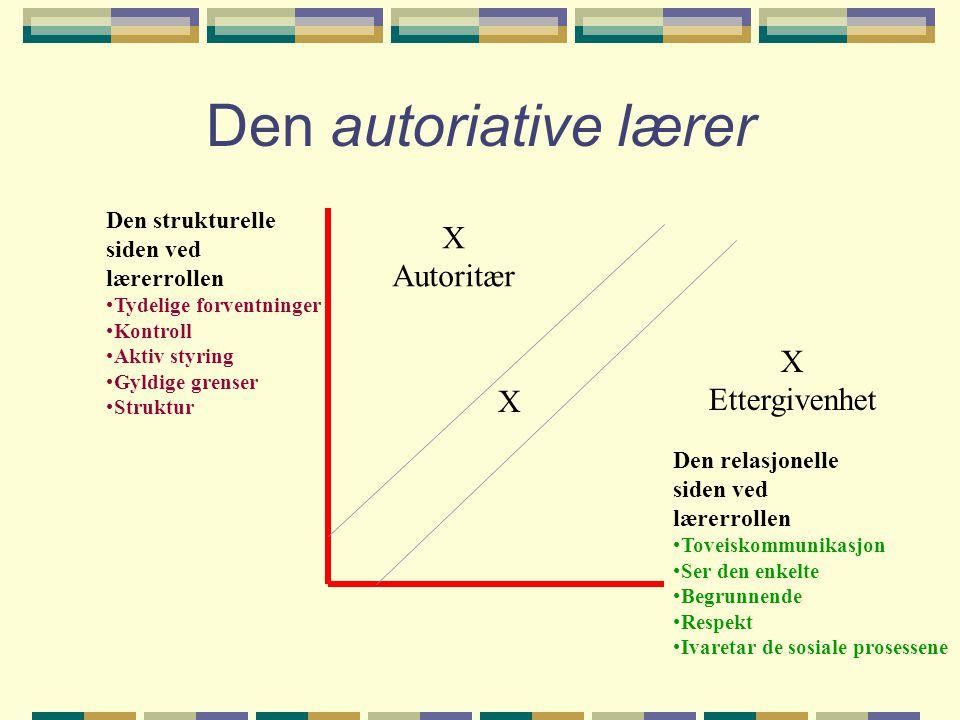 Den autoriative lærer Den strukturelle siden ved lærerrollen •Tydelige forventninger •Kontroll •Aktiv styring •Gyldige grenser •Struktur Den relasjone