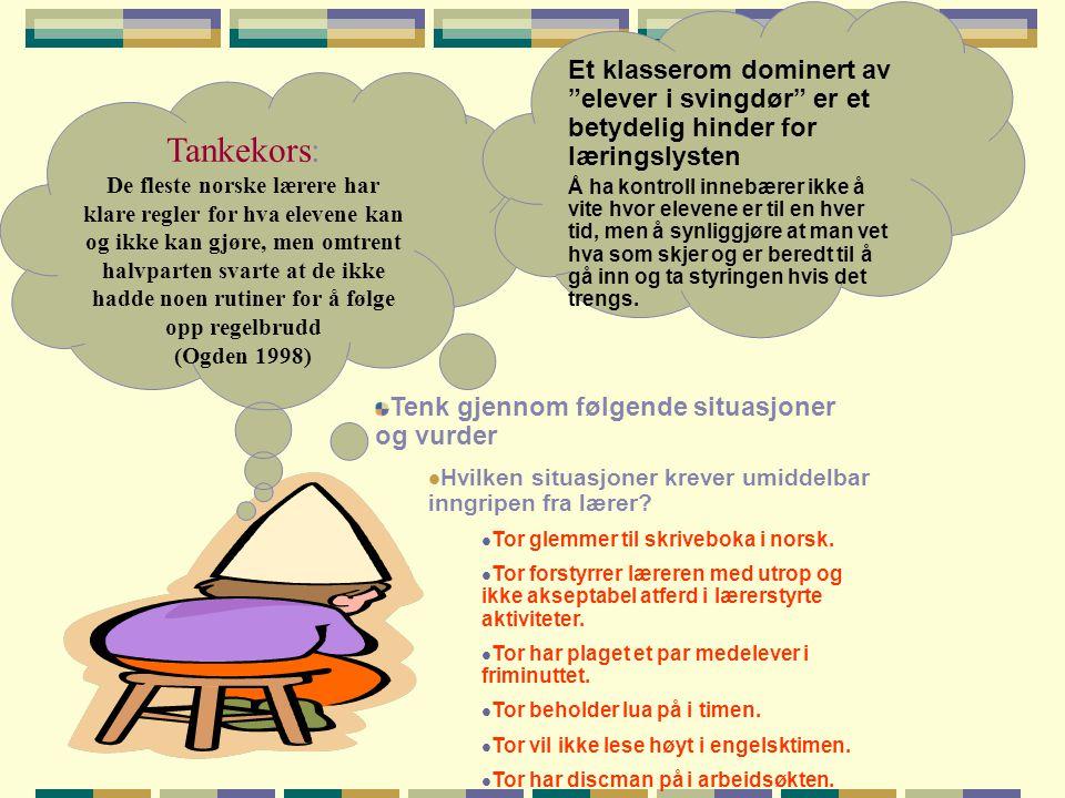 Tankekors: De fleste norske lærere har klare regler for hva elevene kan og ikke kan gjøre, men omtrent halvparten svarte at de ikke hadde noen rutiner