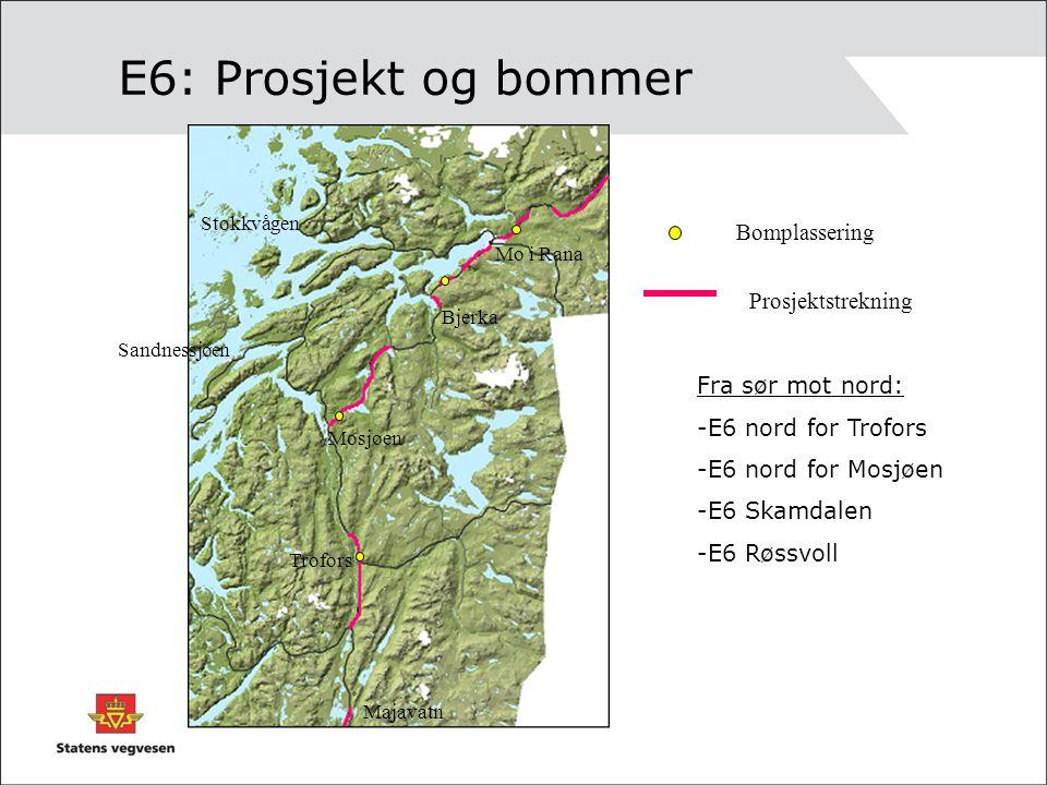 E6: Prosjekt og bommer Bomplassering Prosjektstrekning Mosjøen Trofors Sandnessjøen Mo i Rana Bjerka Stokkvågen Majavatn Fra sør mot nord: -E6 nord fo