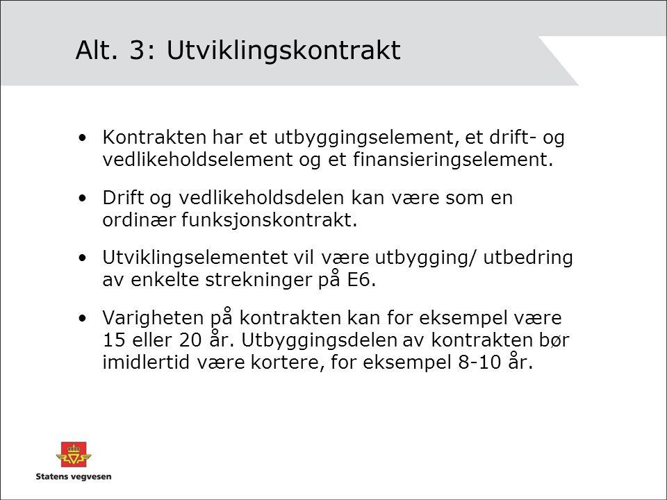 Alt. 3: Utviklingskontrakt •Kontrakten har et utbyggingselement, et drift- og vedlikeholdselement og et finansieringselement. •Drift og vedlikeholdsde