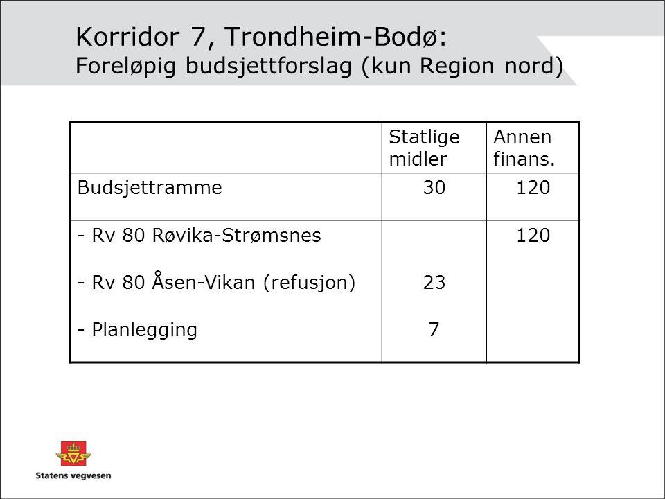 Korridor 7, Trondheim-Bodø: Foreløpig budsjettforslag (kun Region nord) Statlige midler Annen finans. Budsjettramme30120 - Rv 80 Røvika-Strømsnes120 -