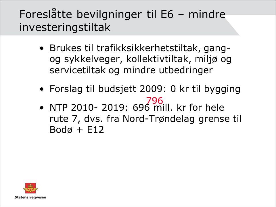Foreslåtte bevilgninger til E6 – mindre investeringstiltak •Brukes til trafikksikkerhetstiltak, gang- og sykkelveger, kollektivtiltak, miljø og servic