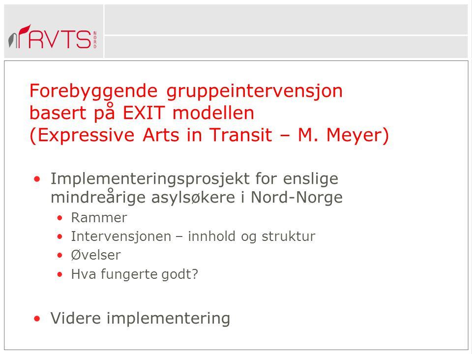 Forebyggende gruppeintervensjon basert på EXIT modellen (Expressive Arts in Transit – M.