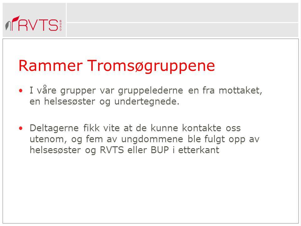 Rammer Tromsøgruppene •I våre grupper var gruppelederne en fra mottaket, en helsesøster og undertegnede.