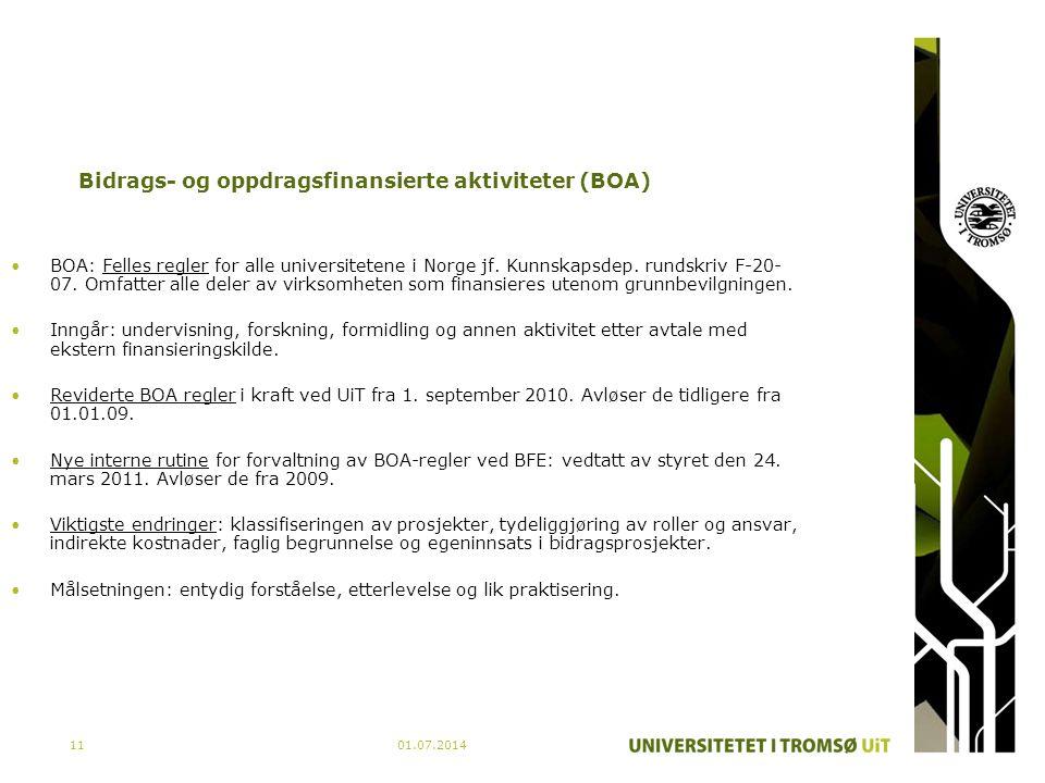 01.07.201411 Bidrags- og oppdragsfinansierte aktiviteter (BOA) •BOA: Felles regler for alle universitetene i Norge jf. Kunnskapsdep. rundskriv F-20- 0