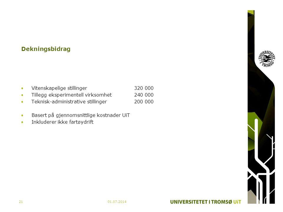 01.07.201421 Dekningsbidrag •Vitenskapelige stillinger320 000 •Tillegg eksperimentell virksomhet240 000 •Teknisk-administrative stillinger200 000 •Bas