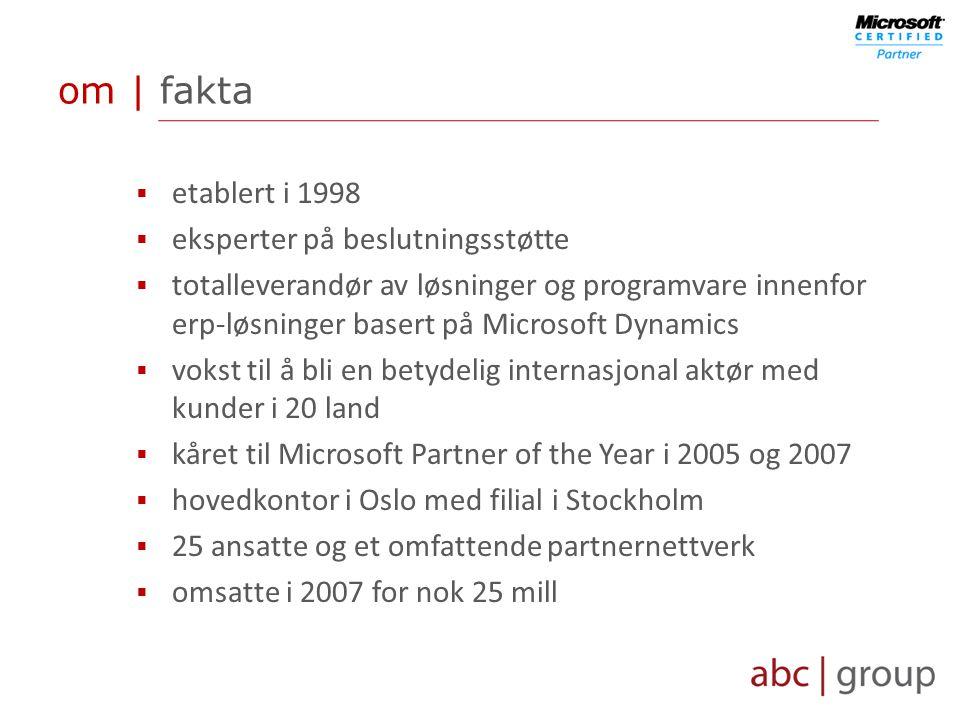 om | fakta  etablert i 1998  eksperter på beslutningsstøtte  totalleverandør av løsninger og programvare innenfor erp-løsninger basert på Microsoft