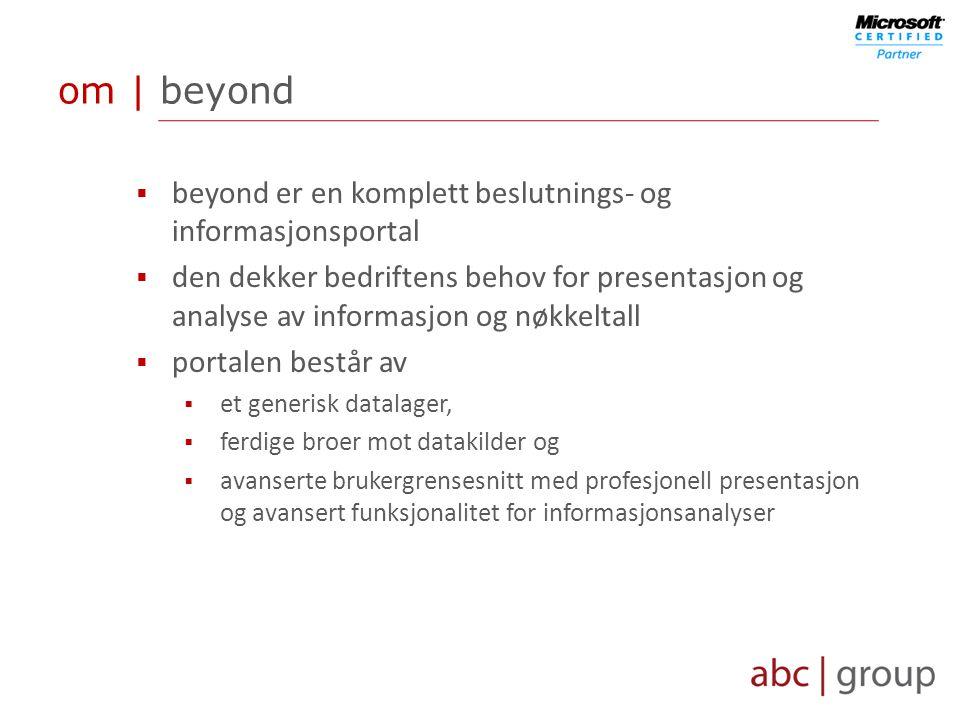 om | beyond  beyond er en komplett beslutnings- og informasjonsportal  den dekker bedriftens behov for presentasjon og analyse av informasjon og nøkkeltall  portalen består av  et generisk datalager,  ferdige broer mot datakilder og  avanserte brukergrensesnitt med profesjonell presentasjon og avansert funksjonalitet for informasjonsanalyser