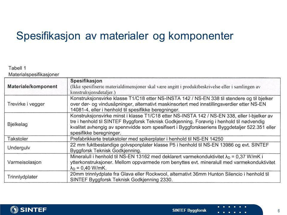 SINTEF Byggforsk Spesifikasjon av materialer og komponenter 8 Tabell 1 Materialspesifikasjoner