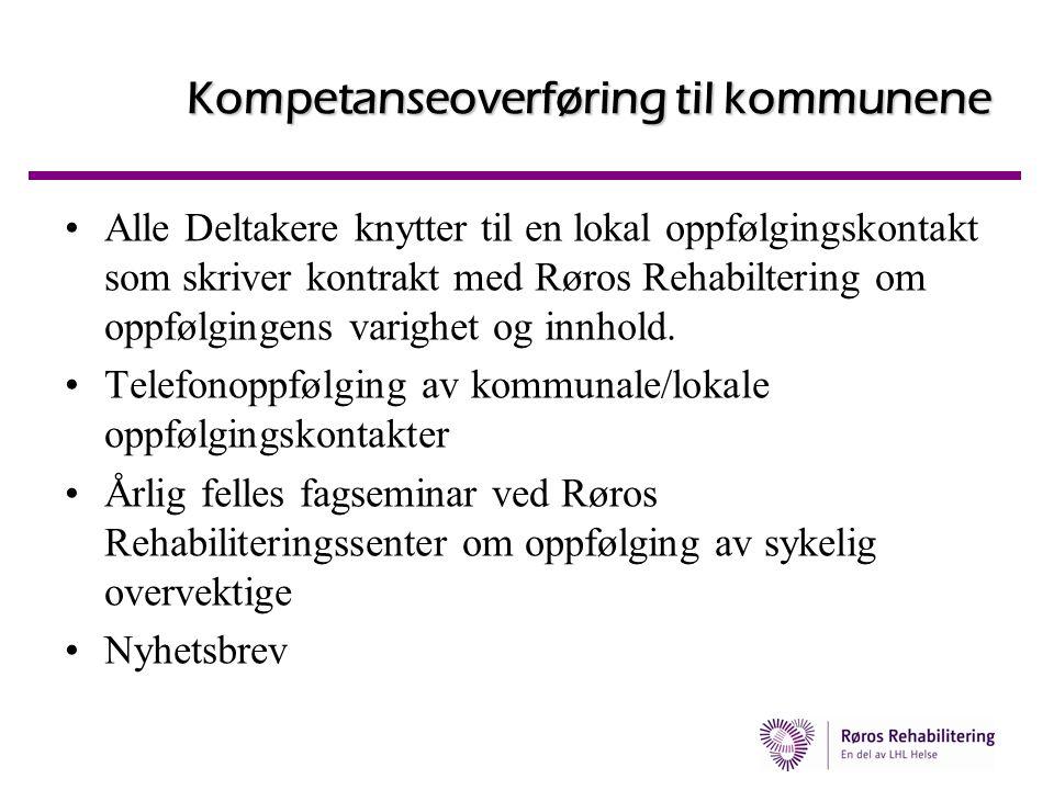 Kompetanseoverføring til kommunene •Alle Deltakere knytter til en lokal oppfølgingskontakt som skriver kontrakt med Røros Rehabiltering om oppfølginge