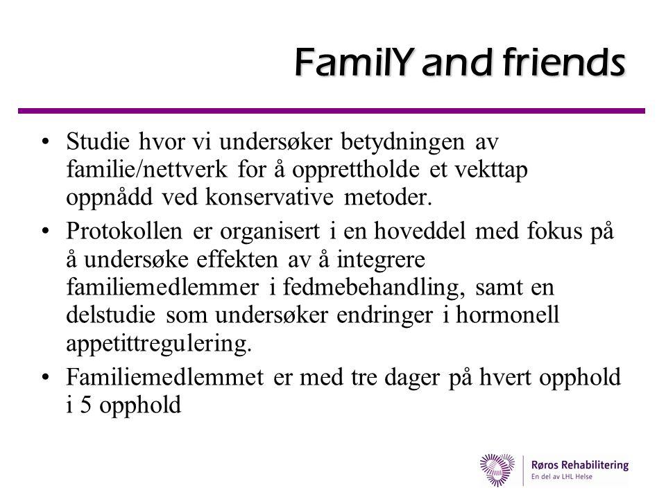 FamilY and friends •Studie hvor vi undersøker betydningen av familie/nettverk for å opprettholde et vekttap oppnådd ved konservative metoder. •Protoko