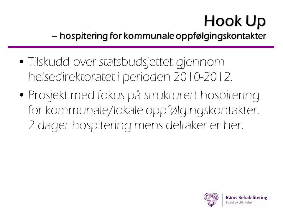 Hook Up – hospitering for kommunale oppfølgingskontakter •Tilskudd over statsbudsjettet gjennom helsedirektoratet i perioden 2010-2012. •Prosjekt med