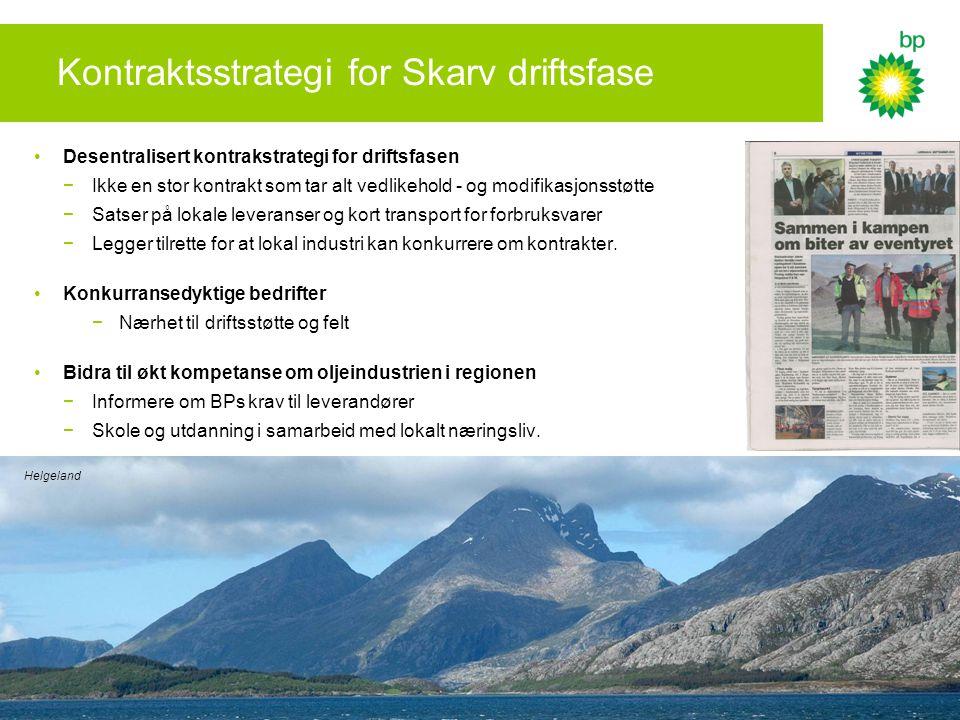 Kontraktsstrategi for Skarv driftsfase •Desentralisert kontrakstrategi for driftsfasen −Ikke en stor kontrakt som tar alt vedlikehold - og modifikasjo