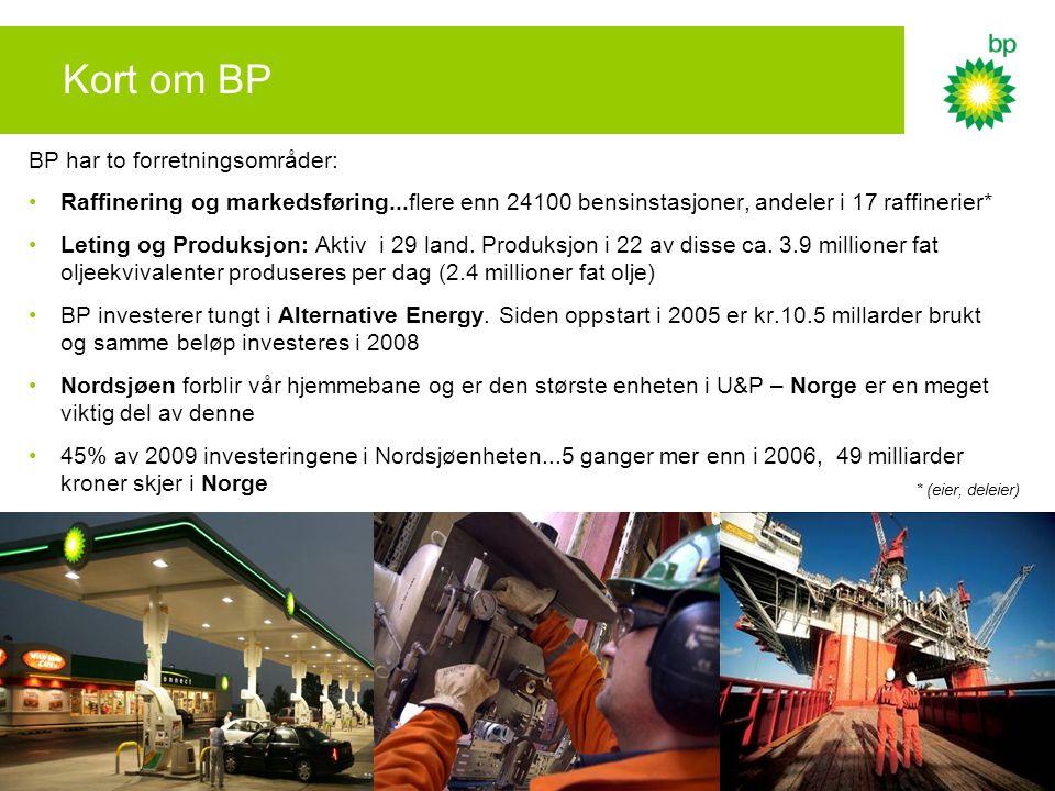 Kort om BP BP har to forretningsområder: •Raffinering og markedsføring...flere enn 24100 bensinstasjoner, andeler i 17 raffinerier* •Leting og Produksjon: Aktiv i 29 land.