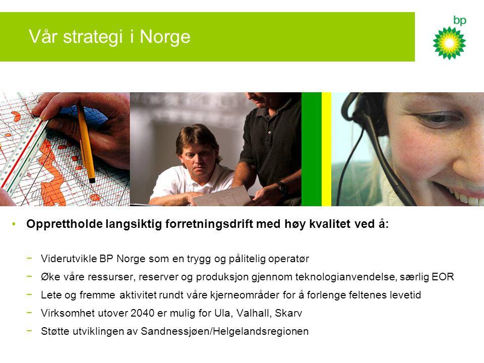 Vår strategi i Norge •Opprettholde langsiktig forretningsdrift med høy kvalitet ved å: −Viderutvikle BP Norge som en trygg og pålitelig operatør −Øke våre ressurser, reserver og produksjon gjennom teknologianvendelse, særlig EOR −Lete og fremme aktivitet rundt våre kjerneområder for å forlenge feltenes levetid −Virksomhet utover 2040 er mulig for Ula, Valhall, Skarv −Støtte utviklingen av Sandnessjøen/Helgelandsregionen