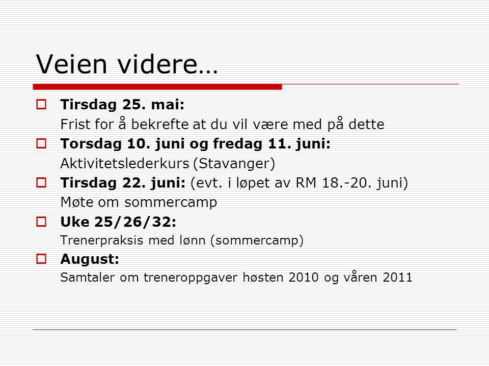 Veien videre…  Tirsdag 25. mai: Frist for å bekrefte at du vil være med på dette  Torsdag 10. juni og fredag 11. juni: Aktivitetslederkurs (Stavange