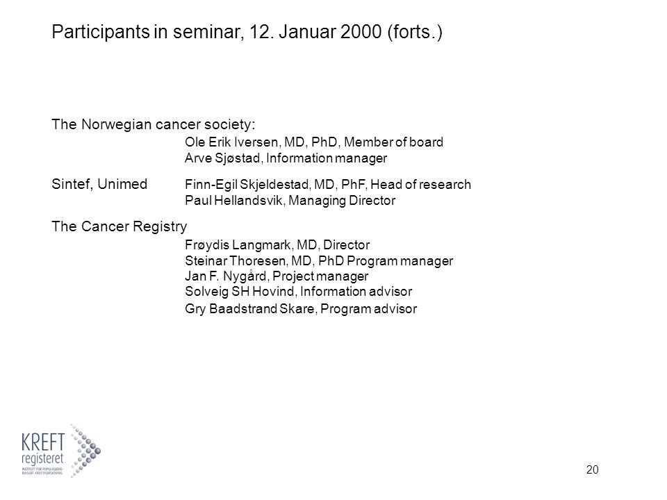 20 Participants in seminar, 12.