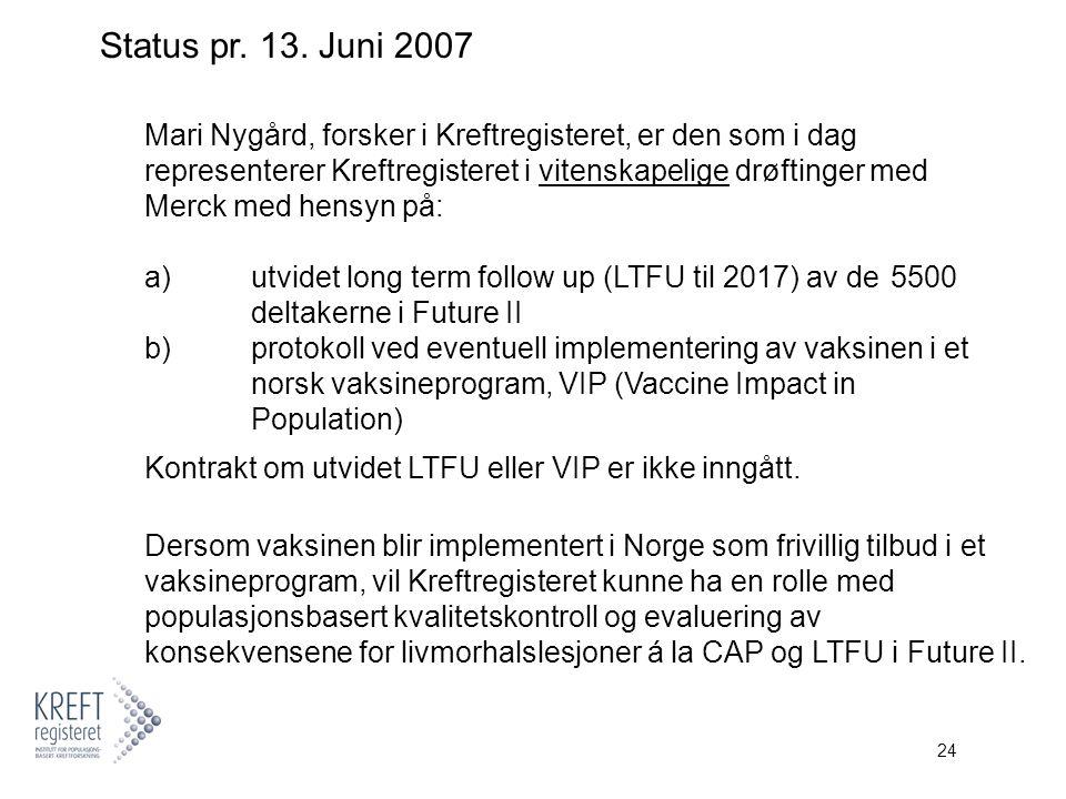 24 Mari Nygård, forsker i Kreftregisteret, er den som i dag representerer Kreftregisteret i vitenskapelige drøftinger med Merck med hensyn på: a) utvidet long term follow up (LTFU til 2017) av de 5500 deltakerne i Future II b) protokoll ved eventuell implementering av vaksinen i et norsk vaksineprogram, VIP (Vaccine Impact in Population) Kontrakt om utvidet LTFU eller VIP er ikke inngått.