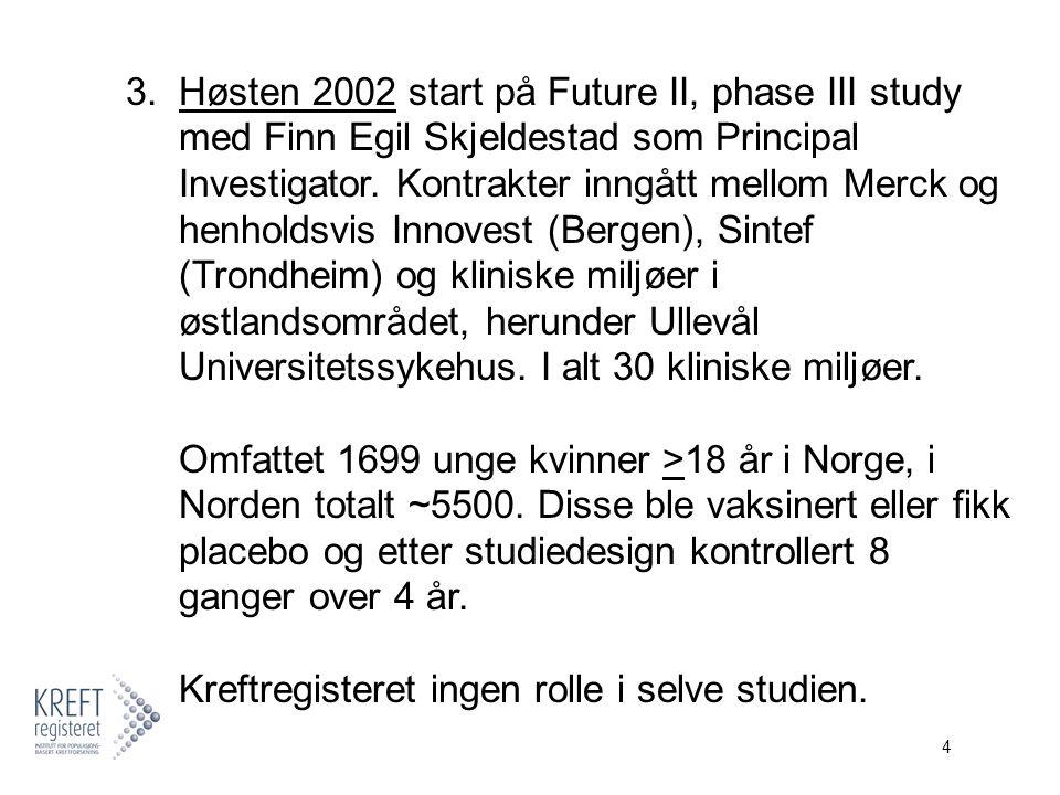 4 3.Høsten 2002 start på Future II, phase III study med Finn Egil Skjeldestad som Principal Investigator.
