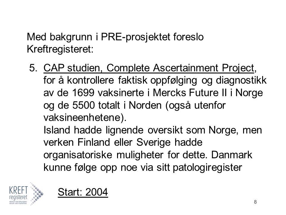 9 Med bakgrunn i de norske komparative fortrinn, ble Kreftregisteret valgt som nordisk koordinator for kvalitetskontrollen av de midlertidige endepunktene i Future II, CAP, og for langtidsoppfølgingen: 6.LTFU (long-term follow-up av Future II).