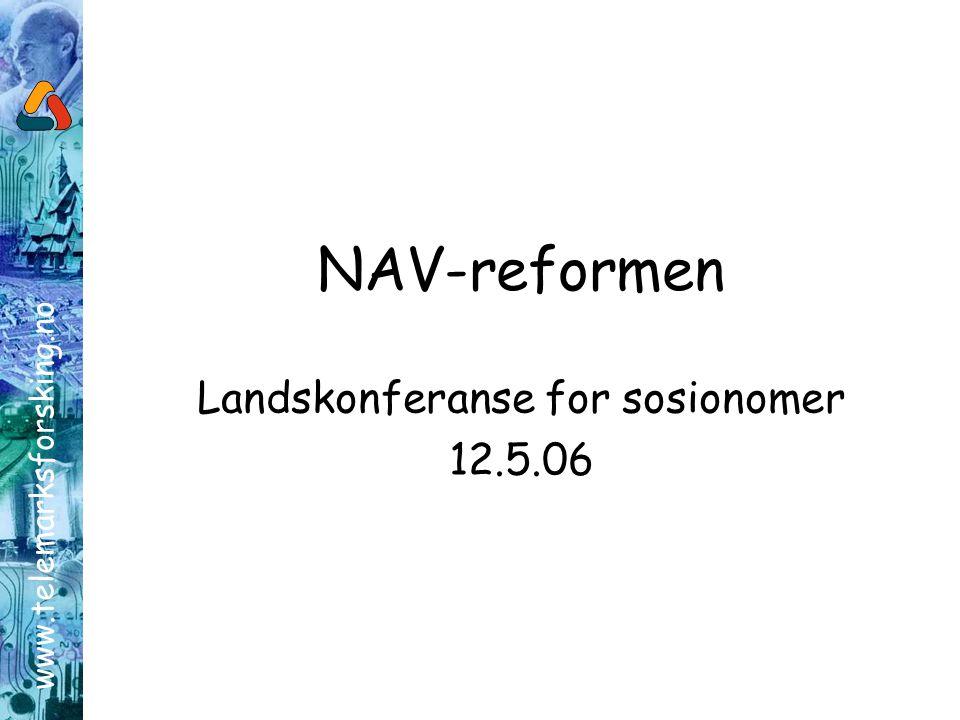 www.telemarksforsking.no NAV-reformen Landskonferanse for sosionomer 12.5.06