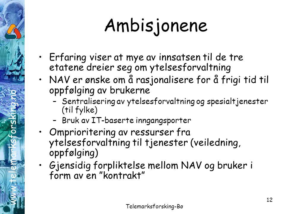 www.telemarksforsking.no Telemarksforsking-Bø 12 Ambisjonene •Erfaring viser at mye av innsatsen til de tre etatene dreier seg om ytelsesforvaltning •