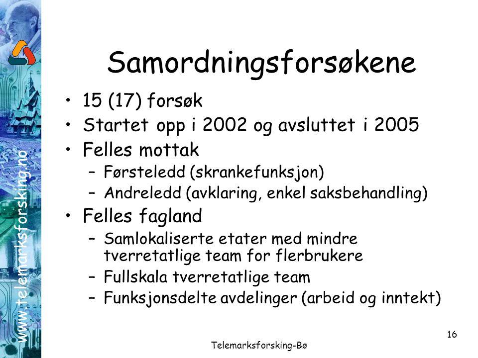 www.telemarksforsking.no Telemarksforsking-Bø 16 Samordningsforsøkene •15 (17) forsøk •Startet opp i 2002 og avsluttet i 2005 •Felles mottak –Førstele